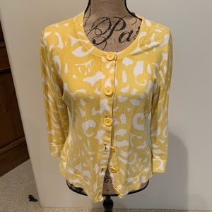 Women's yellow and white cardigan